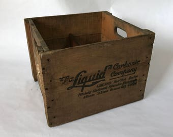 Vintage Wood Crate, The Liquid Carbonic Company, Rustic Decor, Farmhouse Decor, Wooden Crate, Wooden Crate Storage, Wood Box, Antique Crate