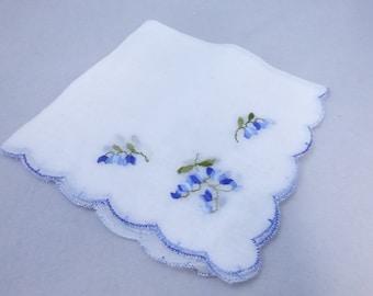 Vintage Mid Century Handkerchief White with Blue Bells
