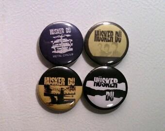 "4 x Husker Du 1"" Pin Button Badges ( music rock hardcore punk grant hart bob )"