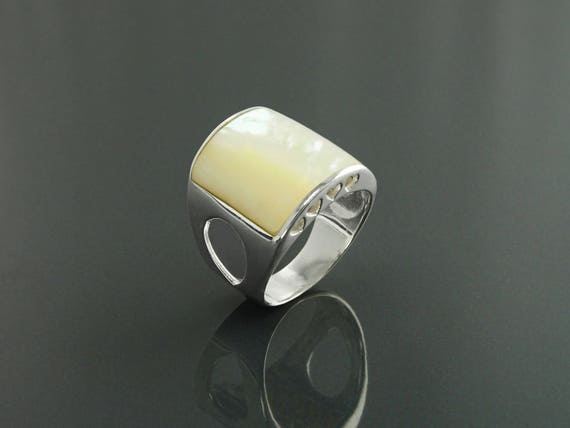 MOP Square Ring, Sterling Silver, Genuine mother-of-pearl, Wide Cuff Ring, Large Design Ring, Statement Modern Ring, Unique Minimalist Ring