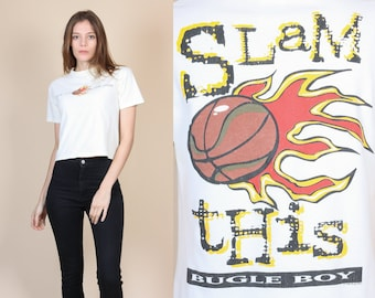 """90s Bugle Boy Crop Top - Small // Vintage """"Slam This"""" Basketball Graphic Cropoed T Shirt"""