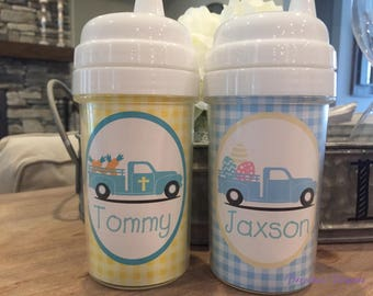 Boys Easter gifts - Personalized Easter sippy cups  - Easter basket stuffers - Easter truck sippy cup, boys sippy cup for easter basket