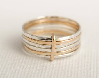 Stacking Ring Set - Skinny Stacking Rings - Solid Gold Stacking Rings - Linked Stacking Rings - Mixed Metal Stacking Rings - Hammered Rings