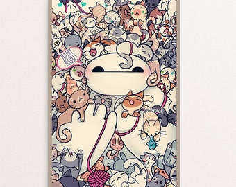 Hairy Babies Baymax   Cats   Kitties   Kitten  Wall Art  Poster   Print   Anime