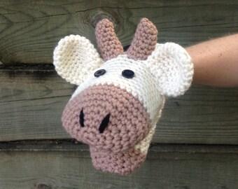 Cow Crochet Hand Puppet