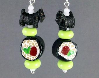 Tekka Maki Sushi and Wasabi OOAK Artisan Scottie Dangle Earrings - E-196s