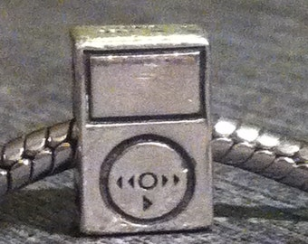 Sterling Silver Music MP3 Player  Charm Bead GA-119 Retired Discontinued CHAM 925 Hallmarks 11mm by 8mm Threaded Media