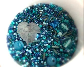 Blues destash Bead Mix #22 - 50 grams - Blue Teal, Glitter Glass, Turquoise Verdigris