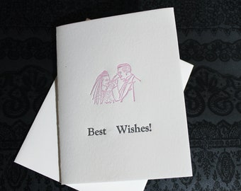 Best Wishes - Wedding Couple Letterpress Card ~ Handmade ~ FREE shipping within the US ~