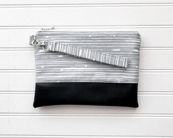 CLASSIC COLLECTION Grey Stripe Mommy Clutch - Wallet Clutch - Small handbag - Black Wristlet - Wallet Clutch