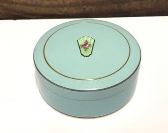 Antique Vanity Powder Box, Art Deco Green Enamel Powder Compact, Push Down Receptacle, Powder Puff and Powder, Antique Vanity Decor