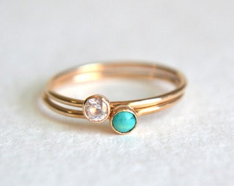 Set of Two Gold Filled Turquoise Rings, Gold Turquoise Ring, Turquoise Ring Gold, Gold CZ Ring, Dainty Ring, Stackable Ring, Stacking Ring