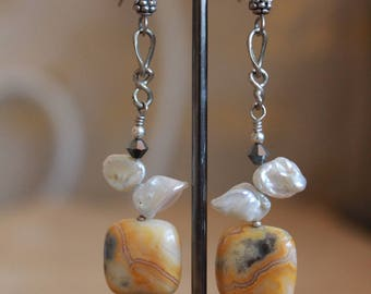 Lace agate and keshi pearl earrings