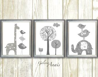 White Gray Nursery wall art, Baby Nursery art, Gender Neutral Nursery, Kids wall art, elephant nursery, giraffe bird Tree - Set of 3 prints