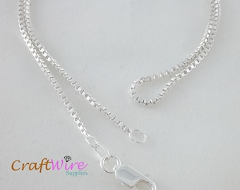 """925 Sterling Silver BOX Chain Necklace, Italy 1.5mm 16"""", 18"""", 20"""", 24"""", 30"""", 36"""", Lobster Clasp, Ship from USA, New"""