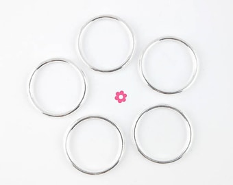 x 10 connector silver round ring 24mm (45 d)