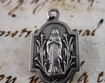 Our Lady of Lourdes Curious Medal - France- Catholic Religious