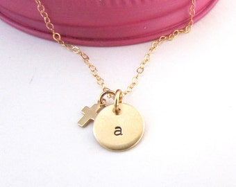 Girls Jewelry, Gold Personalized Initial Necklace,Gold and Silver Necklace,Silver Initial Necklace, Communion, Baptism, Hand Stamped Jewelry