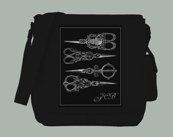 Vintage White Ornate Shears and Monogram on BLACK Canvas Messenger Bag, 15x11x4