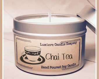 CHAI TEA scented Soy Candle Tin, Scented Soy Candles, Hand Poured Soy Candles, Soy Candles Handmade, Travel Tin