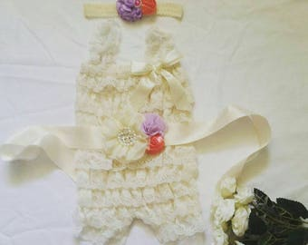 Romper Sash and headband Set. Newborn-6mths. Flower girl. Floral. Vintage. Birthday. Shabby. Rhinestones. Ruffe bum. Baby girls clothes.