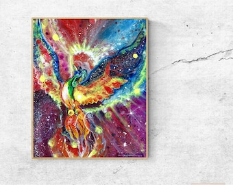 Phoenix Bird Print, Fantasy, Art for him, Art for her, just because, Mythical Creature, Print, Fantasy Art. Print.
