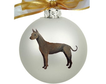 Xoloitzcuintli Xolo Dog Mexican Hairless Dog Hand Painted Christmas Ornament - Can Be Personalized with Name