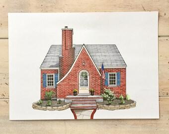 Custom House Portrait, House Drawing, Personalized Home Illustration, Housewarming Gift, Custom Art Print