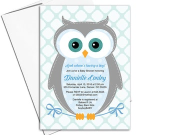 Woodland baby shower invitation boy, owl baby shower invites, cute woodland creature, blue, gray, mint - PRINTED - WLP00784