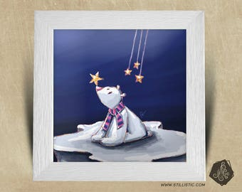 Frame square 25 x 25 birth gift with polar bear Illustration and stars kids baby room
