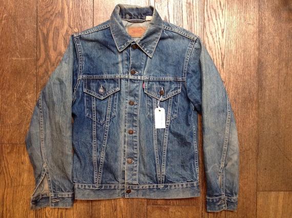 """Vintage 1980s 80s Levis Strauss type three red tab denim jacket indigo workwear trucker small e 37"""" chest 76506"""