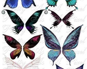 Butterfly Wings in Blue and Purple Set 1 - Digital Collage Sheet - INSTANT DOWNLOAD