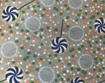 1 Yard cotton Wiggles and Giggles by Thimbleberries 2007 RJR Fabrics Blue and White Lollipops