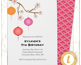 Japanese Cherry Blossoms Invitation | Kids Birthday | Printable Editable Digital PDF File | Instant Download | Templett | KBI160DIY