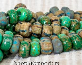 Matte Jade Denim Aged Stripe 34/0 Czech Seed Bead Mix, Matte Jade Denim Aged Stripe Large Hole Seed Beads, 5351, 30 Beads