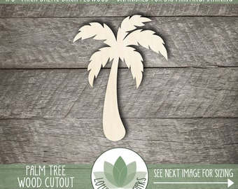 Palm Tree Wood Shape, Wooden Palm Tree Cutout, Blank Wood Shape, Unfinished Wood For DIY Projects, Laser Cut Wood Shapes, Many Size Options