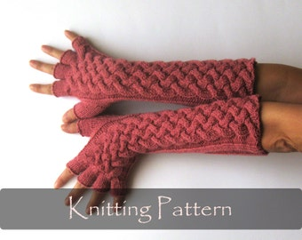 KNITTING PATTERN - Double Cable Gloves Pattern Knit Fingerless Gloves Fingerless Mittens Arm Warmers Hand Warmers Knit Pattern PDF - P0025