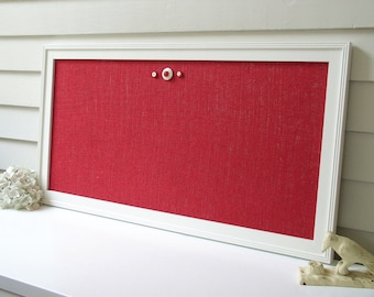 """Organization Magnet Board - Barn Red Burlap Magnetic Framed Bulletin Board in Shabby Chic Cottage Style 17.5 x 33"""" Fabric Memo Message Board"""