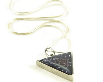 Orgone Energy Triangle Pendant in Antique Silver with Purple Amethyst Gemstone - Unisex Necklace - Men's Necklace - Artisan Jewelry