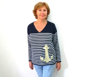 Navy Blue Striped Sweater Cotton knit Nautical Anchor Jumper Women M/L