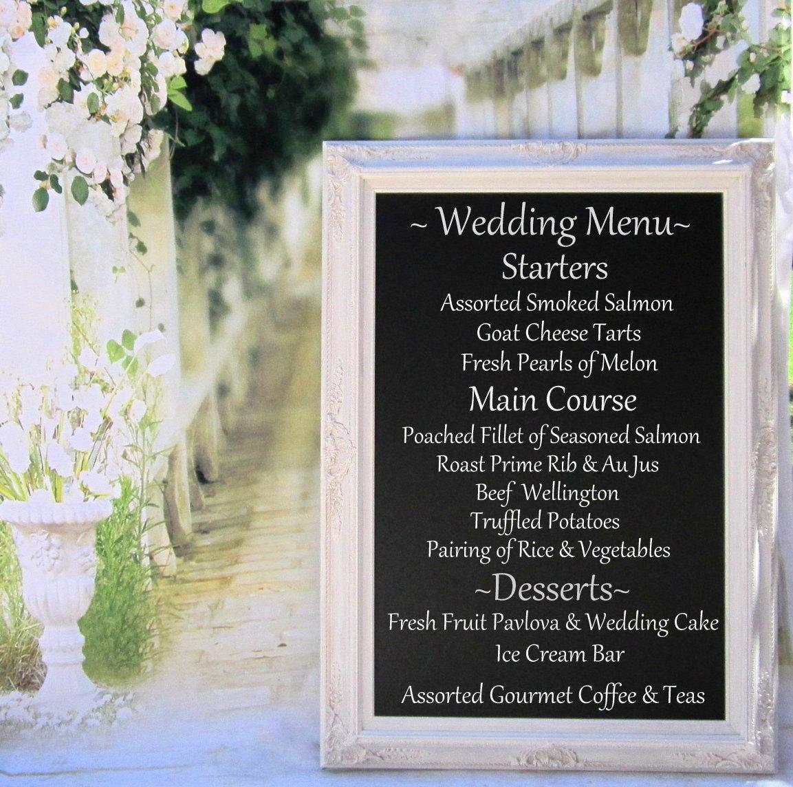 PIZARRA de tablero del menú de boda con caballete pie