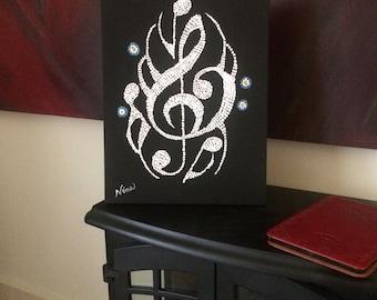Dot Pointillism, Acrylic, Music, Notes, 11x14 black canvas,  dot art, pointillism art, original dot pointillism art