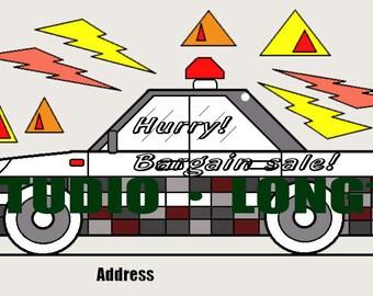 illustration card Post card material.(Patrol car)