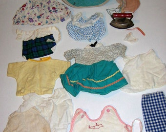 Vintage Tiny Tears Doll Clothing Collection plus LUCE Doll Suitcase, 1950s