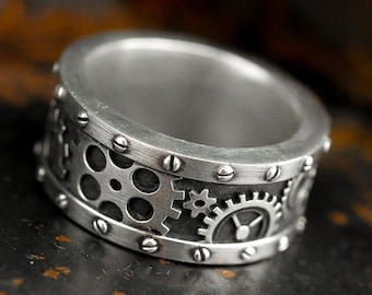 Steampunk Gear Ring Steam Punk Gear and Rivets Ring