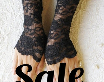 SALE Black lace cuffs finger-less gloves black mittens  FREE SHIPPING