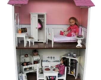 Two Story Doll House, Sized For 18 Inch Dolls