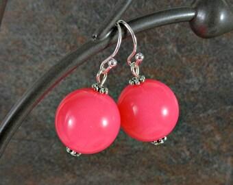Gumball Earrings, Round Bead Earrings, Pink, Neon, Chunky Earrings, Drop Earrings, Dangle Earrings, Silver, Pink Earrings, Ball Earrings