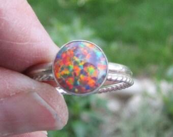 Feueropal Sterling Silber Ring - Größe 9 1/2