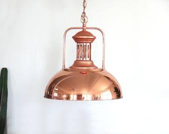 Grande pendaison cuivre industriel / lampe pendentif en or Rose